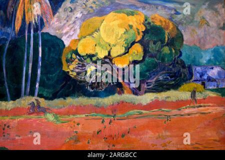 Fatata te Moua, Au Pied d'une montagne, 1892, huile sur toile, Paul Gauguin (1848-1903), Musée de l'Ermitage de l'État, Saint-Pétersbourg Russie, Europe. Banque D'Images