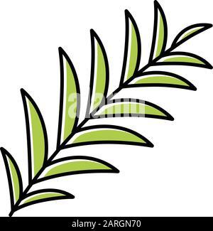 Icône de couleur verte de la branche Palm. Feuilles d'arbres tropicaux. Symbole de la victoire et de la paix. Bon signe de Pâques. Vacances religieuses de printemps. Récit de la Bible. Gospel s Banque D'Images