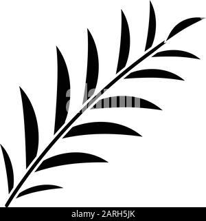 Icône de glyphe de branche Palm. Feuilles d'arbres tropicaux. Symbole de la victoire et de la paix. Bon signe de Pâques. Récit de la Bible. Histoire de l'Évangile. Dimanche De Palm. Silhouette sy Banque D'Images