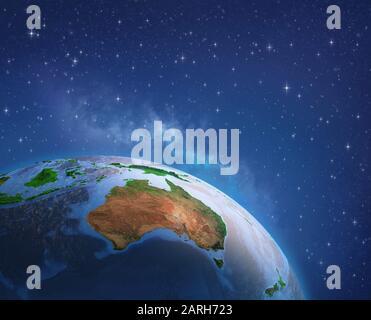 Surface de la planète Terre vue depuis un satellite, a porté sur l'Australie. Illustration 3D - Éléments de cette image fournie par la NASA. Banque D'Images