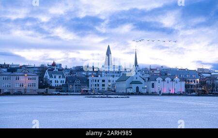 Reykjavik Islande architectural en hiver avec neige Banque D'Images