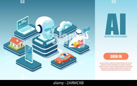 Vecteur d'une intelligence artificielle de robot contrôlant la technologie moderne ordinateur portable, voiture, smartphone, maison Banque D'Images