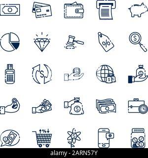 Argent isolé vecteur conception icon set Banque D'Images