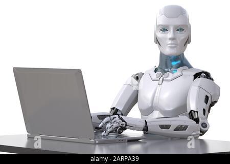 Le robot fonctionne avec un ordinateur portable. Chemin d'écrêtage inclus. Illustration tridimensionnelle Banque D'Images