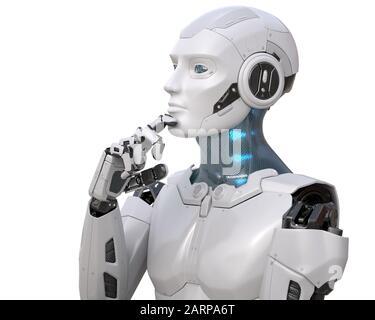 Le robot pense à quelque chose. Chemin d'écrêtage inclus. Illustration tridimensionnelle Banque D'Images