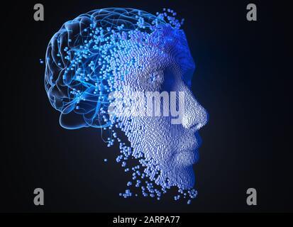 Face composée de blocs. Concept d'intelligence artificielle. Illustration tridimensionnelle