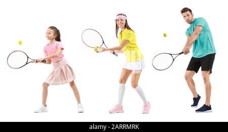 Tennis en famille sur fond blanc Banque D'Images