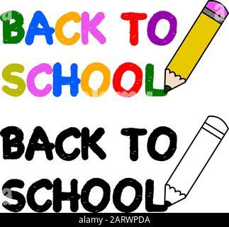 Illustration montrant une icône crayon écrivant les mots Retour à l'école Banque D'Images