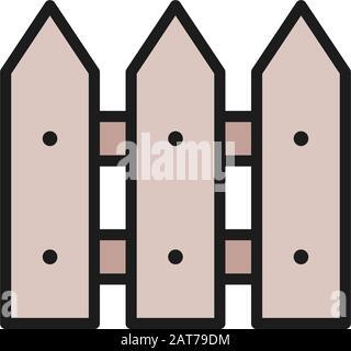Clôture en bois, mur, icône de ligne de couleur plate barrière. Banque D'Images