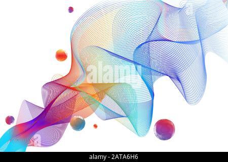 Résumé Transparent Wavy Veil Contexte - Vector Billowy Lines Net Banque D'Images