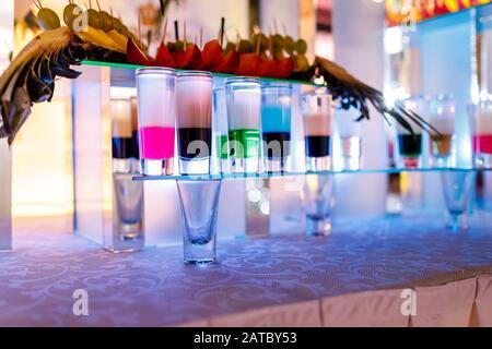 collection de photos colorées avec fruits au bar. jeu de mini-tireurs de cocktails à base d'alcool.