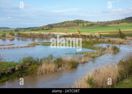 Überschwemmung Der Sechta Bei Oberdorf • Bade-Wurtemberg, Allemagne Banque D'Images