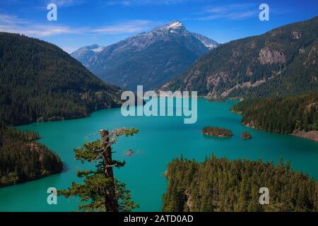 Diablo Lake, un réservoir dans les montagnes de North Cascade de l'État de Washington. La belle couleur turquoise du lac est causée par le limon glacial. Banque D'Images