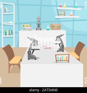 Laboratoire chimique et biologique avec tubes à essai, flacons et microscopes. Recherche et invention de vaccins. Maladie virale. Épidémie.