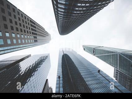 Photo stylisée vintage des gratte-ciel à San Francisco City, Californie, États-Unis. Banque D'Images