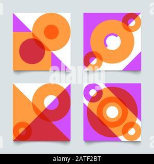 Ensemble de motifs géométriques abstraits dans le style bauhauser, fond vectoriel suisse rétro Banque D'Images