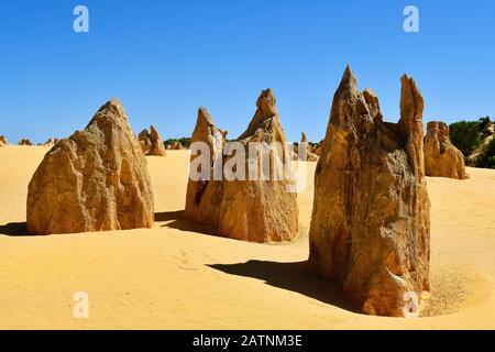 L'Australie, WA, les Pinnacles, dans le Parc National de Nambung, attraction touristique privilégiée et repère naturel Banque D'Images