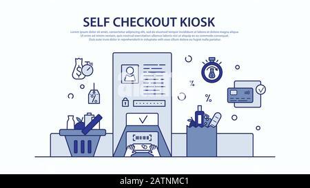 Instruction colorée Vector pour un kiosque à caisse libre à l'épicerie. Décrire les actions nécessaires analyser, emballer et payer. Illustration plate fine Banque D'Images