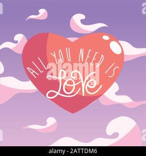 Tout ce dont vous avez besoin est texte d'amour au coeur de la conception de Passion romantique valentines jour mariage décoration et mariage thème illustration vectorielle