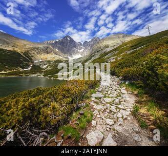 Vue sur le pic de Lomnica dans les Hautes Tatras et une route autour d'un lac de montagne, en Slovaquie