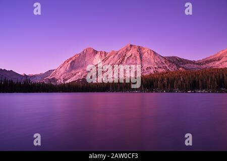 Mount Conness et Young Lake dans le parc national de Yosemite au crépuscule après le coucher du soleil avec une lueur violette