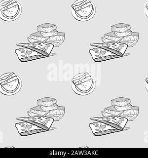 Dessin en niveaux de gris à motif transparent Johnnycake. Utilisable pour le papier peint ou la décoration de toute taille. Illustration Vectorielle Dessinée À La Main Banque D'Images