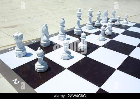 Texture, arrière-plan. Contexte. Grande échecs dans le parc. Grand jeu d'échecs sur le terrain dans le parc . Gros Morceaux D'Échecs Jouer Au Jeu Sur L'Étage . Géant