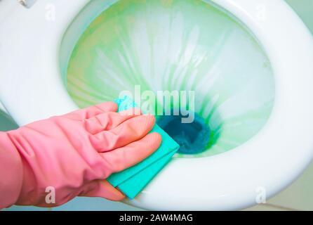 Désinfection des toilettes à l'aide de liquides antibactériens colorés et d'outils de nettoyage. Vue rapprochée. Banque D'Images