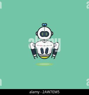 Illustration du vecteur du robot à léviter. Symbole de l'intelligence artificielle, de la technologie et du futurisme. Banque D'Images