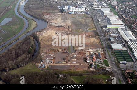 Vue aérienne des terrains de développement sur Wheatley Hall Road, Doncaster DNT 2 Banque D'Images