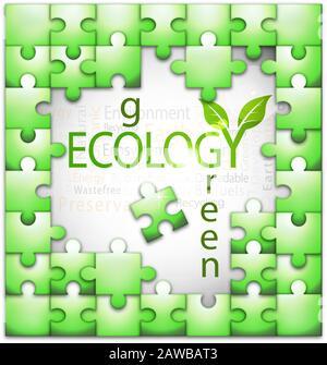 Conception de l'illustration vectorielle de puzzle en nuage de tags liée à l'écologie