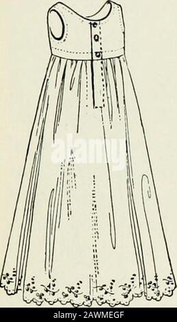 Les soins et l'alimentation des nourrissons et le régime alimentaire après la première année . tthe cou. Au début, le jupticoat devrait être d'environ 25 pouces de long, de sorte à étendre 6 ou 8 pouces sous les pieds de babayes. Lorsque le bébé est transformé en vêtements courts à la hauteur d'environ six mois, le jupon sera, bien sûr, raccourci. La robe doit être ample et peut être faite de nainsook, robe.pelouse, cavité, tissu long, ou tout autre matériau approprié. Itdevrait avoir de longues manches, au moins pendant les premiers mois, et peut être attaché dans le dos avec de petits boutons, ou avec un ruban nar-rangée, ou avec des épingles de bébé. La robe doit être une litt Banque D'Images