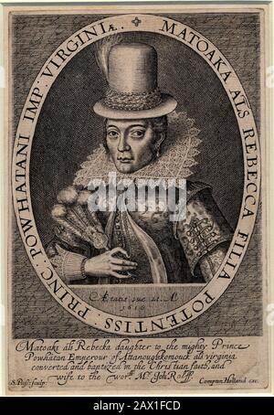 1616 , GRANDE-BRETAGNE : Pocahontas ( Virginia, 1595 CA – Gravesend, 21 mars 1617 ) comme Mme John Rolfe , d'un portrait réalisé à Londres , Angleterre , 1616 par le graveur Simon Van de Passe ( CA. 1595 - 1647 ). Pocahontas (née Matoaka, et plus tard connue sous le nom de Rebecca Rolfe, c. 1595 -mars 1617) était un Indien de Virginie. Dans une anecdote historique, on dit qu'elle a sauvé la vie d'un captif indien, l'Anglais John Smith, En 1607, en plaçant sa tête sur sa propre quand son père a levé son club de guerre pour l'exécuter .- POCAHONTAS - Princesse Powhatani - Epotea del Selvaggio WEST - NATIF AM
