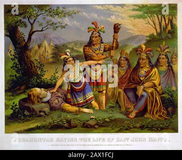 1870 , États-Unis : Pocahontas ( Virginia, 1595 CA – Gravesend, 21 mars 1617 ) sauver la vie du capitaine John Rolfe , New England Chromo. Lith. CO., États-Unis. Pocahontas (née Matoaka, et plus tard connue sous le nom de Rebecca Rolfe, c. 1595 – mars 1617) était un Virginia Indian[1][2] notable pour son association avec la colonie coloniale de Jamestown, en Virginie. Pocahontas était la fille de Powhatan, le chef suprême d'un réseau de nations tribales tributaires dans la région de Tidewater en Virginie. Dans une anecdote historique bien connue, on dit qu'elle a sauvé la vie d'un captif indien, John Smith, en anglais