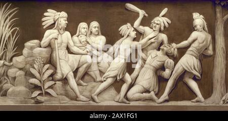 1870 CA, États-Unis : Pocahontas ( Virginia, 1595 CA – Gravesend, 21 mars 1617 ) sauver la vie du capitaine John Rolfe , décoration de peinture au Capitole des États-Unis , WASHIINGHTON , DC , États-Unis. Pocahontas ( née Matoaka, et plus tard connue sous le nom de Rebecca Rolfe, c. 1595 – mars 1617) était un Virginia Indian notable pour son association avec la colonie coloniale de Jamestown, en Virginie. Pocahontas était la fille de Powhatan, le chef suprême d'un réseau de nations tribales tributaires dans la région de Tidewater en Virginie. Dans une anecdote historique bien connue, on dit qu'elle a sauvé la vie d'un moi