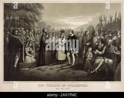 1858 CA : mariage de Pocahontas ( Virginie, 1595 CA – Gravesend, 21 mars 1617 ) avec le capitaine John Rolfe . Lithographie de Hohenstern , imprimée à Philadelphie par Publié Joseph Hoover . Pocahontas (née Matoaka, et plus tard connue sous le nom de Rebecca Rolfe, c. 1595 – mars 1617) était un Virginia Indian notable pour son association avec la colonie coloniale de Jamestown, en Virginie. Pocahontas était la fille de Powhatan, le chef suprême d'un réseau de nations tribales tributaires dans la région de Tidewater en Virginie. Dans une anecdote historique bien connue, on dit qu'elle a sauvé la vie d'un Indien