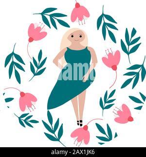 Illustration vectorielle avec une jeune fille blonde en robe verte dans un cadre dessiné à la main avec des fleurs et des feuilles dans des couleurs de mentol et de rose. Banque D'Images