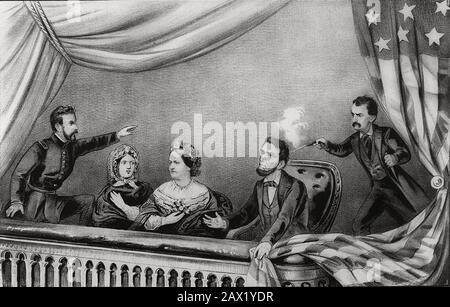 1865 : Le président américain ABRAHAM LINCOLN ( Big South Fork , KY, 1809 - Washington 1865 ) . Lithographie De L'Assassinat d'Abraham Lincoln . De Gauche À Droite : Henry Rathbone, Clara Harris, Mary Todd Lincoln, Abraham Lincoln, Et John Wilkes Booth - Presidente della Repubblica - Stati Uniti - USA - ritratto - portrait - cravatta - tie - papillon - col - coletto - Abramo - assassinio - tueur - assassinio - omicidio - amicide - sparo di pistola - attentato ---- Archivio GBB Banque D'Images