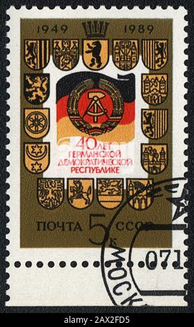 Timbre-poste: 40 ans de la République démocratique allemande, URSS, 1989
