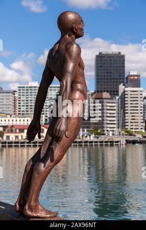 Solace de la statue du vent, horizon de Wellington, Nouvelle-Zélande Banque D'Images