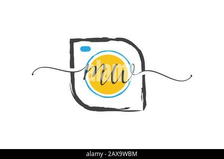 M W conception initiale du logo avec une brosse, concept du logo Photography. Banque D'Images