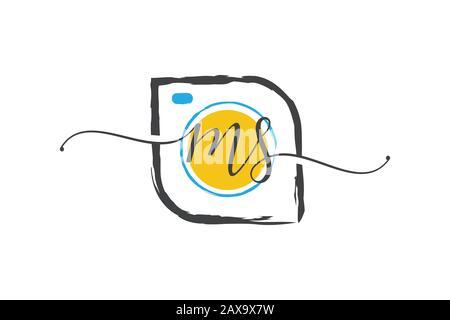 M S conception initiale du logo d'écriture manuscrite avec une brosse, concept du logo de photographie. Banque D'Images