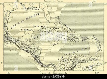 Nouvelle-géographie universitaire : la terre et les hommes . ©Getales et animales autorisent les naturalistes à tre que tellesou telles îles voisines lune de lautre nont pourtant jamais©té unies PEN-dant les âtres Géologiques1. La proximité des terres nendique pas une 1 Morelet, Voyage dans les environs de l'Amérique Centrale : Alex. Agassiz, Trois Croisières Du Blake. MÃDITERRANÃE AMÃRICAINE. 5 ancienne jonction ; sur la pète citer en exemple les Bahama et les Antilles, qui. Par leur histoire naturelle, sont plus intimement unies avec la lol-taine Amérique Centrale quavec la Gélorgie et les Carolines. L