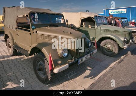 1950, GAZ-69, camions légers soviétiques, foire Oldtimer Bazar à Wroclaw, Basse Silésie, Pologne
