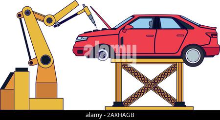 bras robotisé fixant une voiture rouge levée Banque D'Images