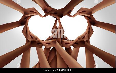 Diversité amour et unité partenariat comme des mains de coeur dans des groupes de personnes diverses reliées ensemble façonné comme une inclusion et inclusive. Banque D'Images