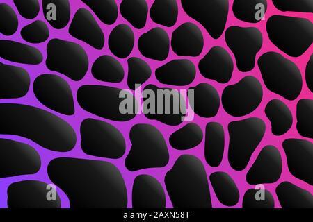 Illustration vectorielle noir et rose motif peau Giraffe. Ornement de texture de peau d'animal. Safari zoo arrière-plan africain. Banque D'Images