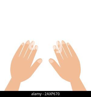 Mains étroites isolées sur fond blanc. Deux paumes avec les doigts. Partie du corps Banque D'Images