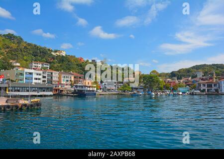 Le bord de mer du quartier de Beykoz sur la rive asiatique d'Istanbul, en Turquie. Banque D'Images