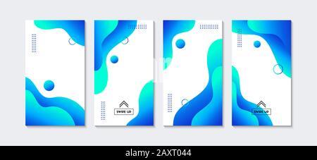 Modèles d'articles. Le vecteur bleu liquide abstrait couvre les réseaux sociaux. Bannières publicitaires verticales à la mode Banque D'Images